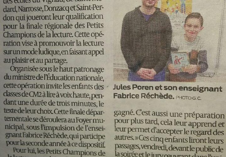 Vendredi 23.03, «Petits champions de la lecture» au Vignau