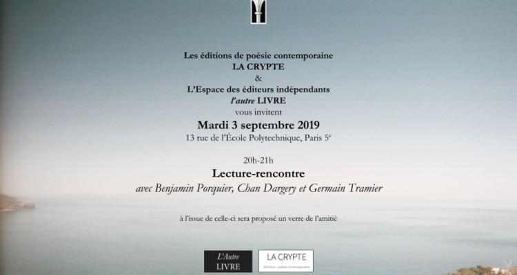 Rencontre-lecture à Paris le 3 septembre